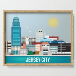 Jersey City, New Jersey - Skyline Illustration by Loose Petals Serving Tray