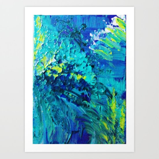 DIVE IN - Beautiful Textural Abstract Acrylic Painting Ocean Waves Beach Art Home Decor Gift Art Print