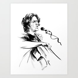 А man who sings and plays the cello Art Print