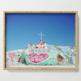 Salvation Mountain in the Californian Desert Serving Tray