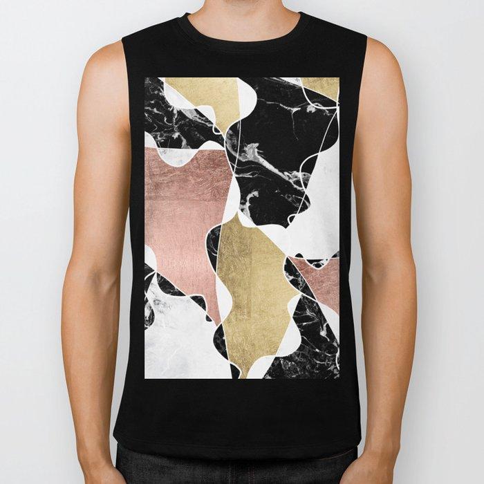 Modern white black marble rose gold foil color block handdrawn geometric lines Biker Tank