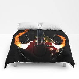 Burning Rock Guitar Comforters