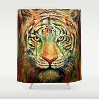 tiger Shower Curtains featuring Tiger by nicebleed