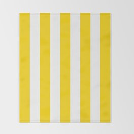 School bus yellow - solid color - white vertical lines pattern Throw Blanket