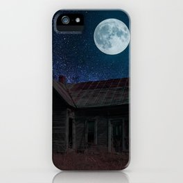Abandoned House Beneath A Full Moon iPhone Case
