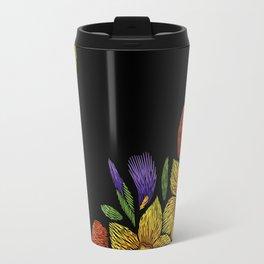 Embroidered Flowers on Black Corner 05 Travel Mug