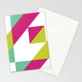Hot Pink and Neon Chartreuse Color Block Stationery Cards
