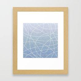 Scribble Linen - Denim Framed Art Print