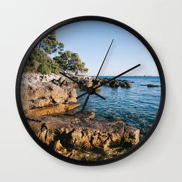 Sunset on the wild beach in Rovinj Wall Clock