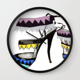 Fashion Shoe Illustration - Anastasia  Wall Clock