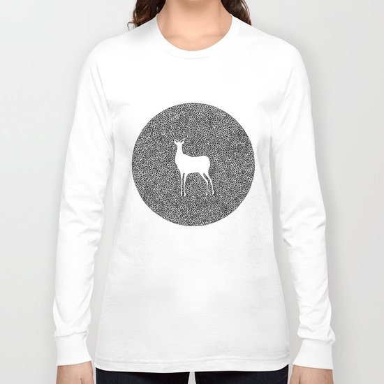 Deer Mandala 2 black-white Long Sleeve T-shirt