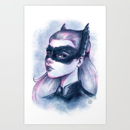 Catwoman Sketch  Art Print