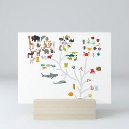 Evolution scale from unicellular organism to mammals. Evolution in biology, scheme evolution of anim Mini Art Print