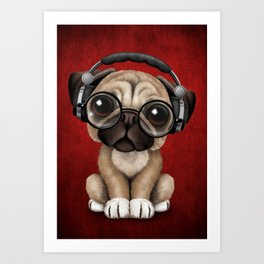 Cute Pug Puppy Dj Wearing Headphones and Glasses on Red Art Print