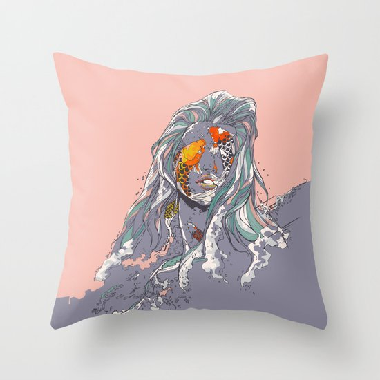 Koi and Raised Throw Pillow