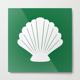 Seashell (White & Olive) Metal Print