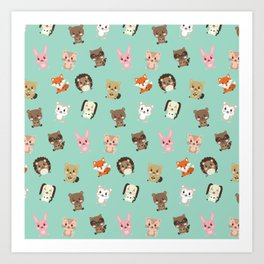 Cute Critters Funny Happy Forest Animal Friends Art Print