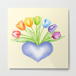 Rainbow Tulips with Heart, Yellow Background Metal Print
