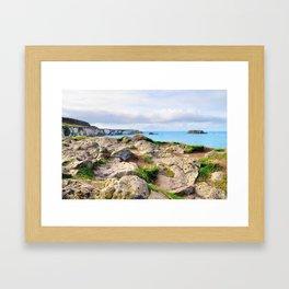 Carrick-a-rede coast Framed Art Print