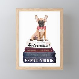 Fawn, French bull dog with fashion books watercolor, frenchie Framed Mini Art Print