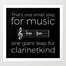 Crossing the break (clarinet) - white text for dark t-shirts Art Print