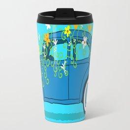blue car flowers Travel Mug
