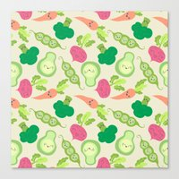 vegetable Canvas Prints featuring VEGETABLE PARTY! by Claudia Ramos Designs