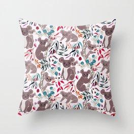 Cute Vintage Pink Cuddly Koalas Throw Pillow