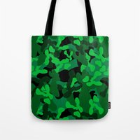 camouflage Tote Bags featuring Camouflage (Green) by 10813 Apparel