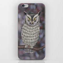 eastern screech owl on a branch iPhone Skin