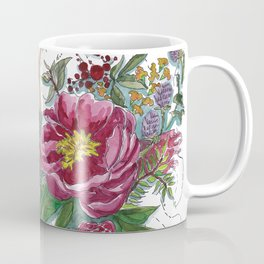 Floral Pink Dotted Lines Coffee Mug