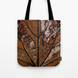 OLD BROWN LEAF WITH VEINS SHABBY CHIC DESIGN ART Tote Bag