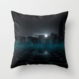 skyline night star sky moon sickle Throw Pillow
