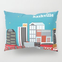 Nashville, Tennessee - Skyline Illustration by Loose Petals Pillow Sham