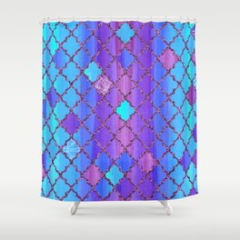 Moroccan Tile Pattern In Purple And Aqua Blue Shower Curtain