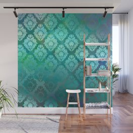 """Turquoise Ocean Damask Pattern"" Wall Mural"