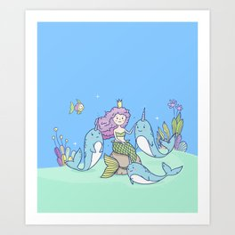 Fairy Little Mermaid and Narwhals Art Print
