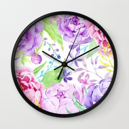 Watercolor Pink and Purple Peony Frame Wall Clock