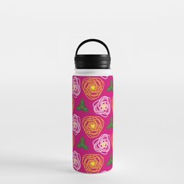 Bright pink floral Water Bottle