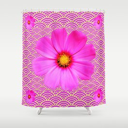 FUCHSIA COLOR PATTERN & COSMO FLORALS Shower Curtain
