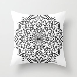 Gem Succulent Mandala B - Black Throw Pillow