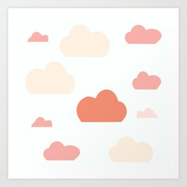 Cloud white and pink Art Print