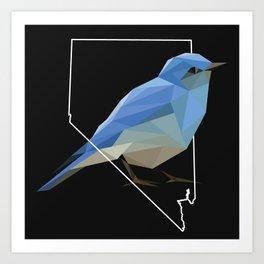 Nevada – Mountain Bluebird (Black) Art Print