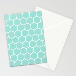 Menthol green honeycomb pattern Stationery Cards