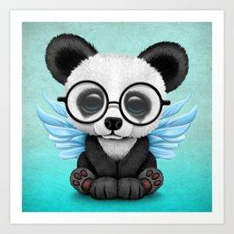 Cute Panda Cub with Fairy Wings and Glasses Blue Art Print
