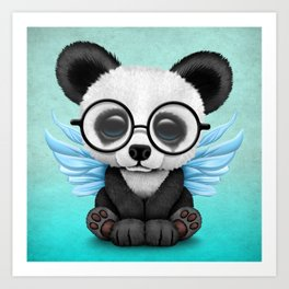 Cute Panda Cub with Fairy Wings and Glasses Blue Art Print