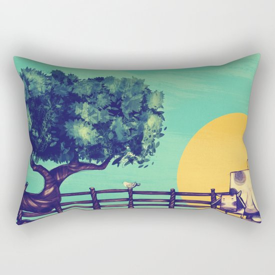 Cow Sunset Rectangular Pillow