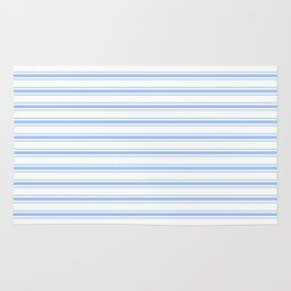 Mattress Ticking Wide Striped Pattern in Pale Blue and White Rug