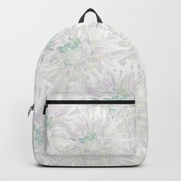White and pale pink tinged dahlias Backpack
