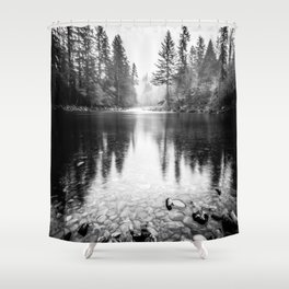 Forest Reflection Lake - Black and White  - Nature Photography Shower Curtain